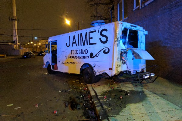 Chicago Food Truck Owners Knocked Out After Stolen Car Crashes Into Truck