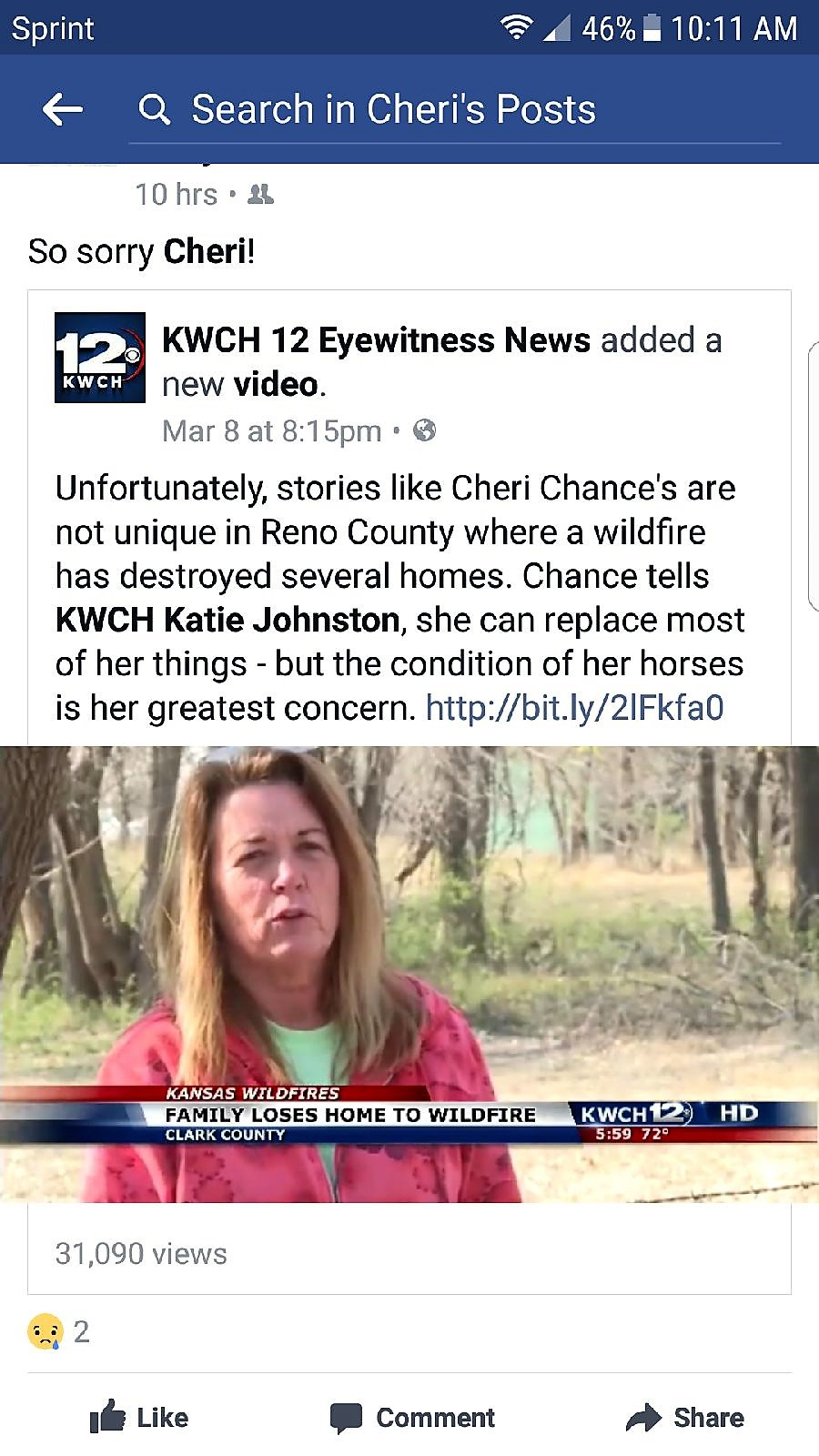 Fundraiser for Cheri Chance by Drew Chance : Cheri Chance Wildfire Fund