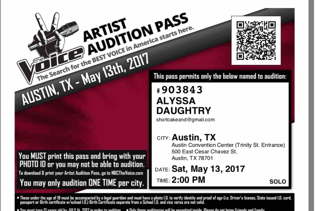 Fundraiser by alyssa nicole daughtry the voice audition trip donate now not now aiddatafo Image collections