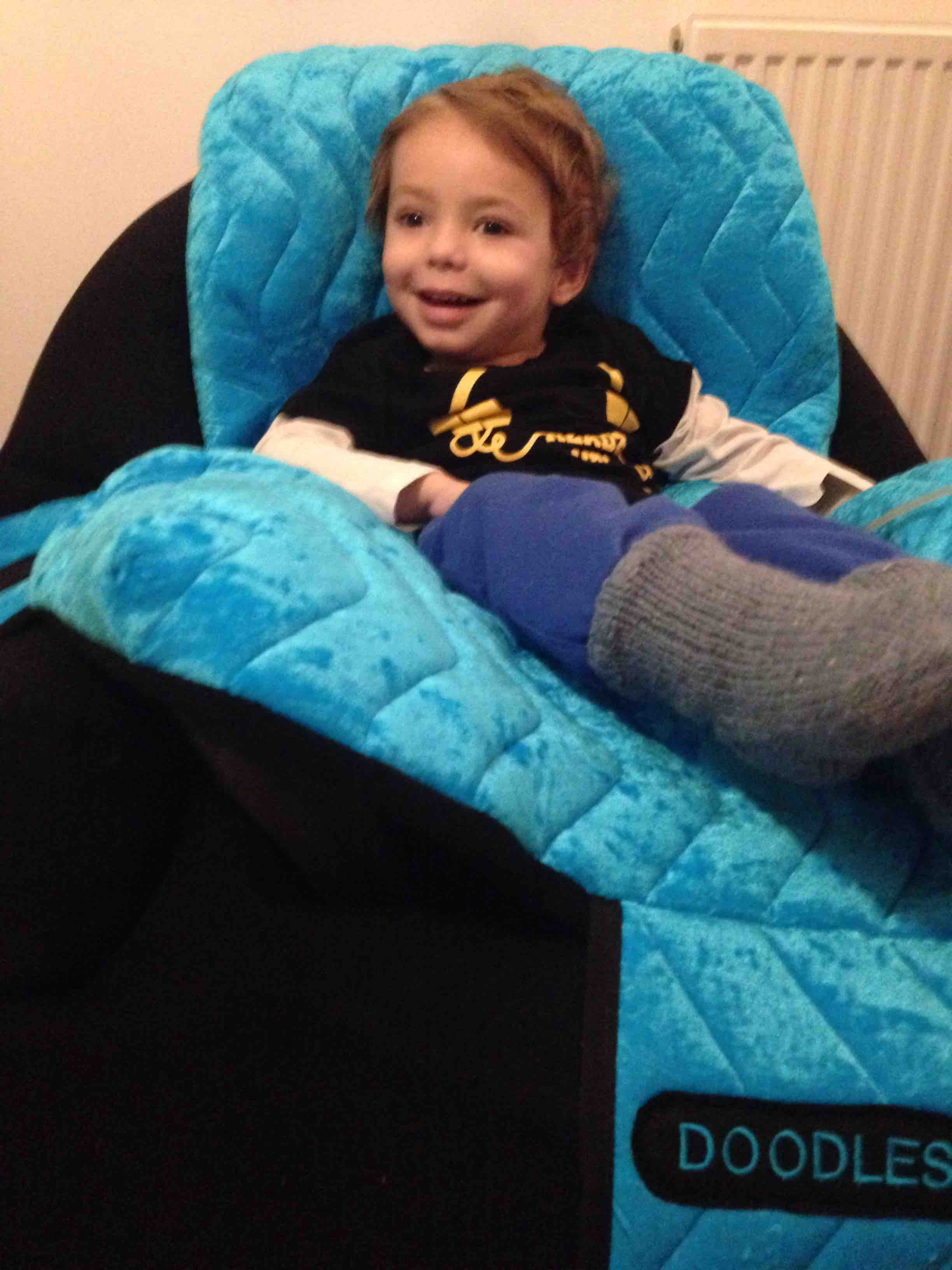 Dougie In His New Pea Pod Chair ! He Loves It U0026 Its Personalised With His  Nick Name Doodles!