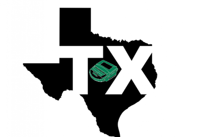 "A green steno machine and ""TX"" in white letters are imposed over the state of Texas in black"