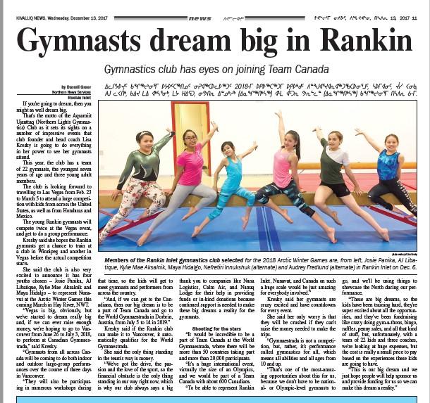 Fundraiser by Lisa Kresky : Help Nunavut Gymnasts Get to Vegas