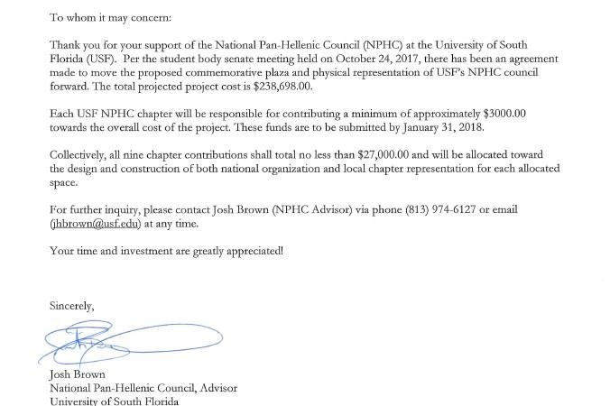 Fundraiser By Nicholas Inniss Usf Nphc Commemorative Plaza