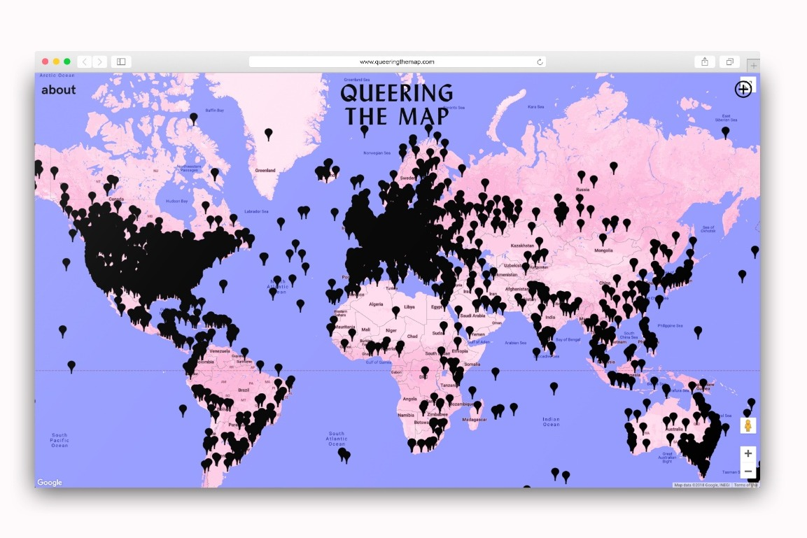 Queering the Map homepage with black location pins showing presence of logged stories.