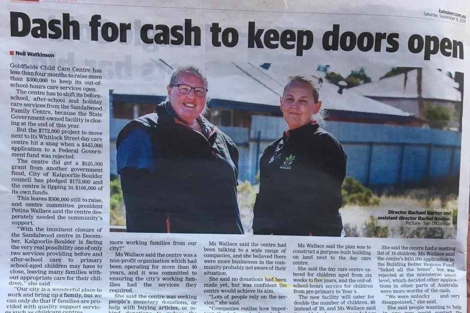 Fundraiser by Goldfields Child Care Centre : GCCC Project