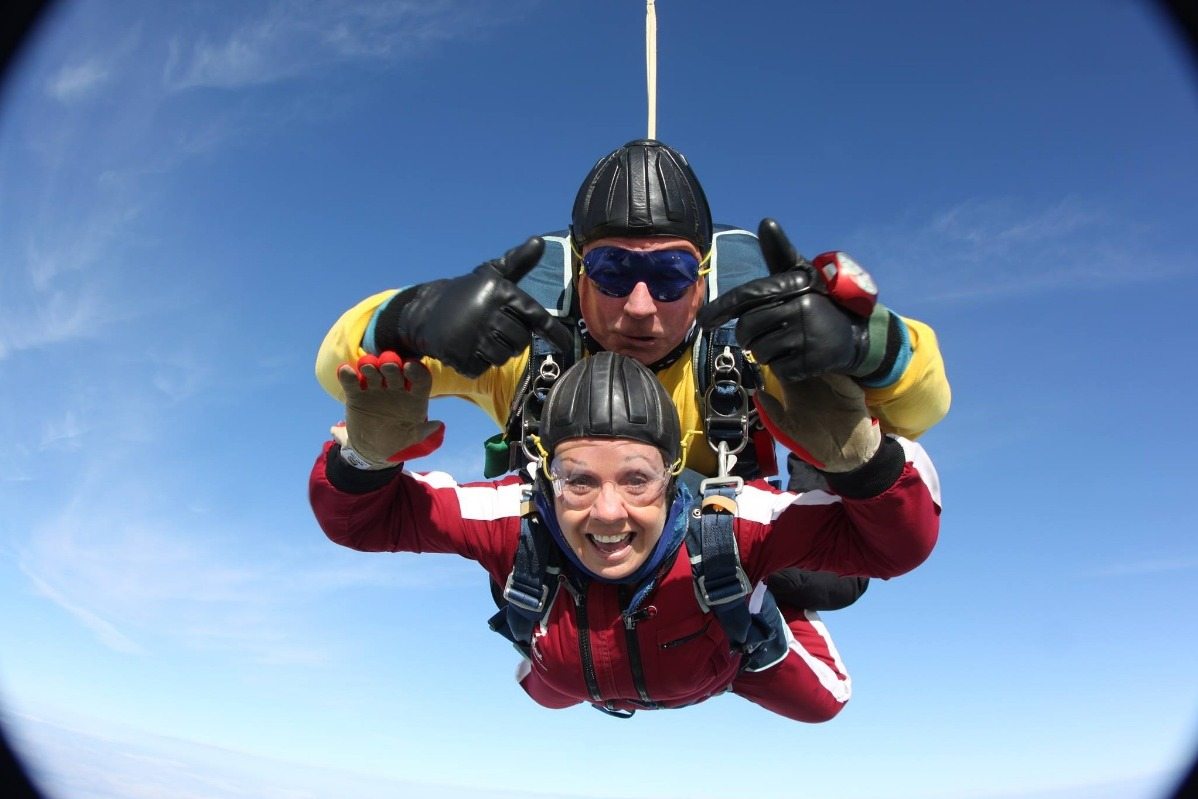 My mum skydiving for Parkinson's charity on her 65th birthday!