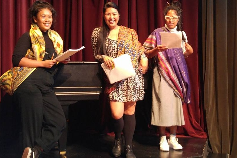 Victoria Marie, Joy Castro and Marienne Buslon in a reading of THROUGH THE BAMBOO at Soulpepper's Shen Series, 2018.